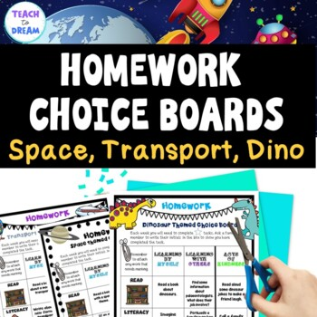 Homework Choice Board or Grid: Space, Dinosaurs & Transpor