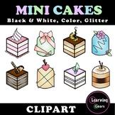 Mini Cakes Clipart - Black & White, Color, Glitter