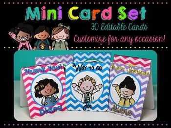 Mini Card Set {Melonheadz Edition} 30 Editable Cards for Any Occasion!