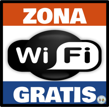 Zona Wifi Gratis * Free Wifi Zone Rojo y Azul * Red & Blue: Mini Poster