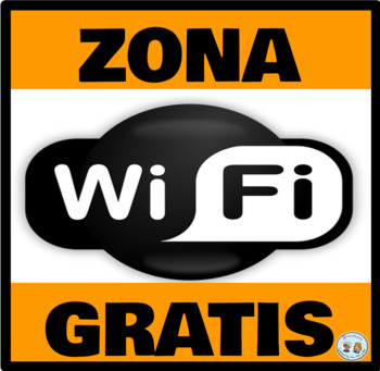 Mini-Poster: Zona Wifi Gratis/Free Wifi Zone - Anaranjado/Orange