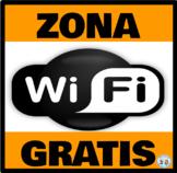 Zona Wifi Gratis * Free Wifi Zone Anaranjado/Negro * Orange/Black: Mini Poster