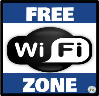 Mini-Poster: Zona Wifi Gratis/Free Wifi Zone - Azul/Blue