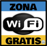 Zona Wifi Gratis * Free Wifi Zone Azul y Dorado * Blue & Gold: Mini Poster