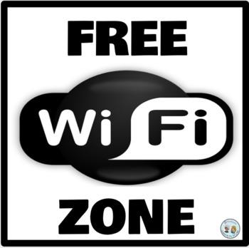 Mini-Poster: Zona Wifi Gratis Morado y Dorado * Free Wifi Zone Purple & Gold
