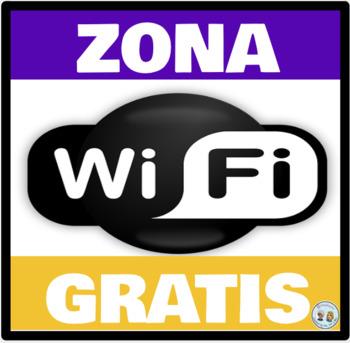 Zona Wifi Gratis * Free Wifi Zone Morado y Dorado * Purple & Gold: Mini Poster