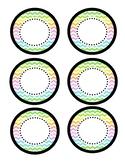 Mini Circle Name Tags - Neon Chevron