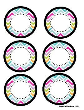 Mini Circle Name Tags - Pretty Chevron
