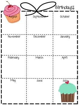 Birthday Chart Page for Teacher Planner/Binder