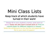 Mini Class Lists