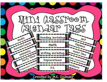 Mini Classroom Calendar Tags