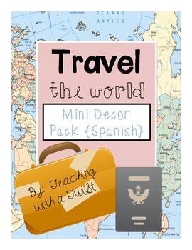 Mini Classroom Decor Pack:  Travel Theme {Spanish}