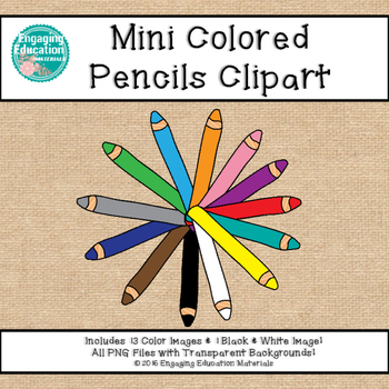 Mini Colored Pencils Clipart