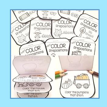 Mini Coloring Books for Prepositions - Fall Theme