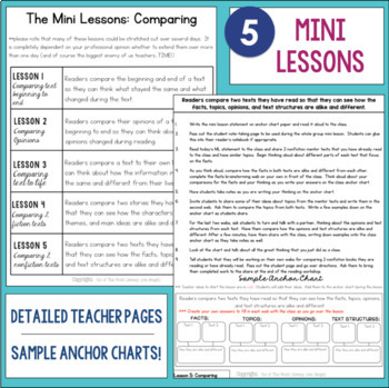 Reading Comprehension Mini Unit for Mastery- Comparing