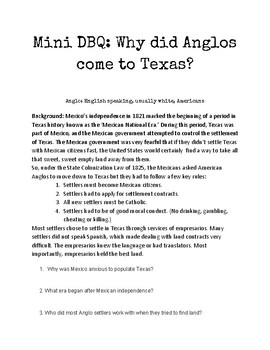 Mini DBQ: Why did Anglos come to Texas?