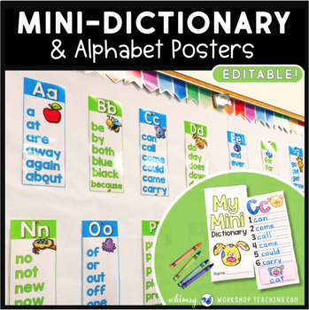 Mini Dictionary and Sight Word Alphabet Posters (26 Posters + Mini Dictionaries)
