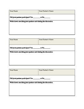 Mini Discussion Sheet