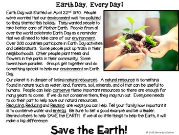 Mini Earth Day Close Read FREEBIE