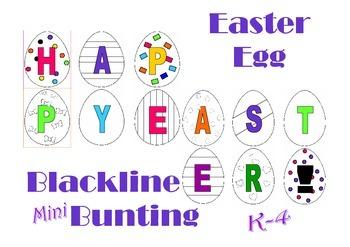 Mini Easter Egg Bunting Blackline Printable for Children to make for Easter