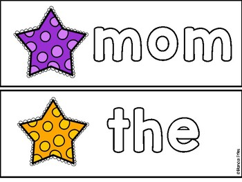 Mini Eraser Activity - Letter and Sight Word Practice - Star Themed