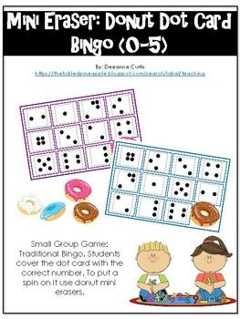 Mini Eraser-Donut Dot Card Bingo (0-5)
