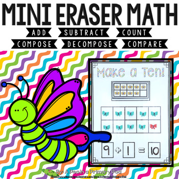 Mini Eraser Math - Butterflies (Add, Subtract, Count, Compose, Decompose, etc.)