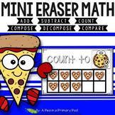 Mini Eraser Math - Pizza (Add, Subtract, Count, Compose, Decompose, etc.)