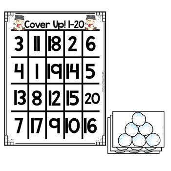 Mini Eraser Math - Snowmen (Add, Subtract, Count, Compose, Decompose, etc.)