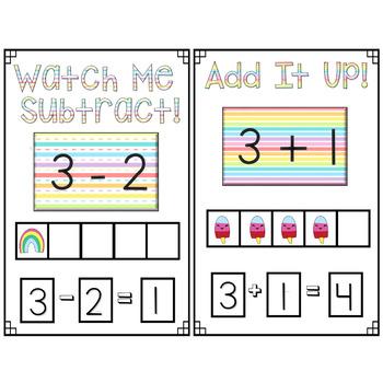 Mini Eraser Math - Spring Trio (Add, Subtract, Count, Compose, Decompose, etc.)