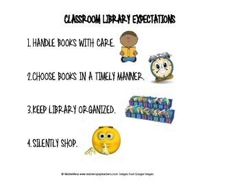 Mini Expectation Anchors-Bathroom, Breakfast/Snack, Classroom Library, Dismissal