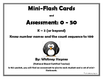 Mini-Flash Cards and Assessment 0-50 (Number Words)
