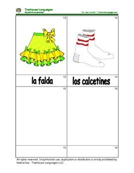 Mini Flashcard Set - La ropa / Clothes