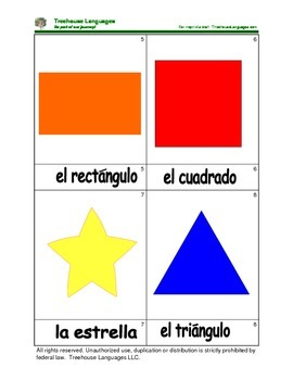 Mini Flashcard Set - Las formas/ Shapes