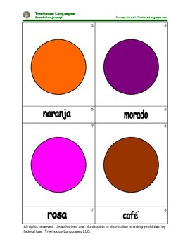 Mini Flashcard Set - Los colores / Colors