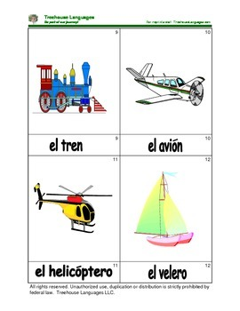 Mini Flashcard Set - Transportes / Transportation