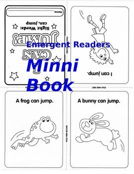 Emergent Readers Foldable Mini Books Reproducible Set Sight Words preK-1