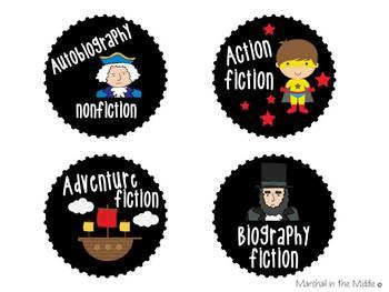 Mini-Genre Posters and Book Bin Labels  (In Black & White)