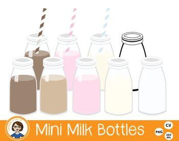 Mini Glass Milk Bottle Clip Art
