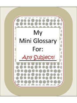 Mini Glossary {Student made dictionary}