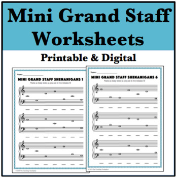 Mini Grand Staff Shenanigans - Note-Naming Worksheets for Beginners