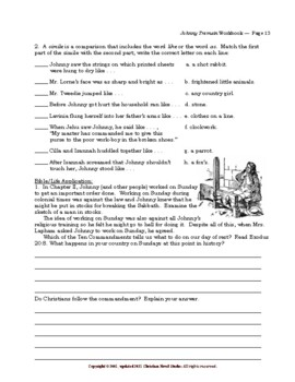 Mini-Guide for Middlers: Johnny Tremain Workbook