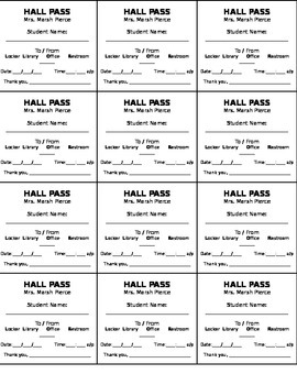Mini Hall Passes
