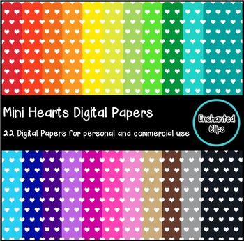 Mini Hearts Digital Papers- 22 Papers for Personal and Commercial Use