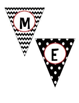 Mini Homework Banner Chevron & Polka Dots