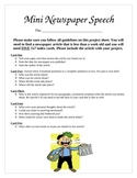 Mini Index Card Newspaper Speech