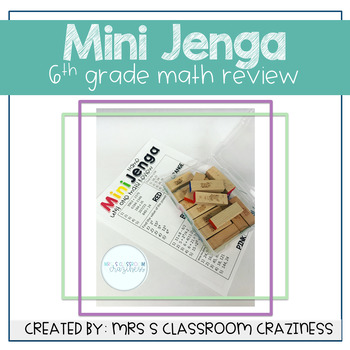 Mini Jenga 6th Grade Math Review-GROWING BUNDLE