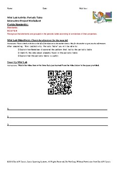 mini labactivity periodic table interactive project worksheet - Periodic Table Activity Lab