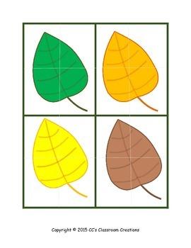 Mini Leaf Puzzles and Worksheet