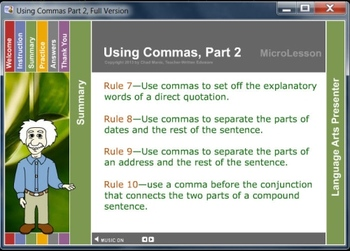 Mini Lesson 18:  Using Commas Part 2, Free Version